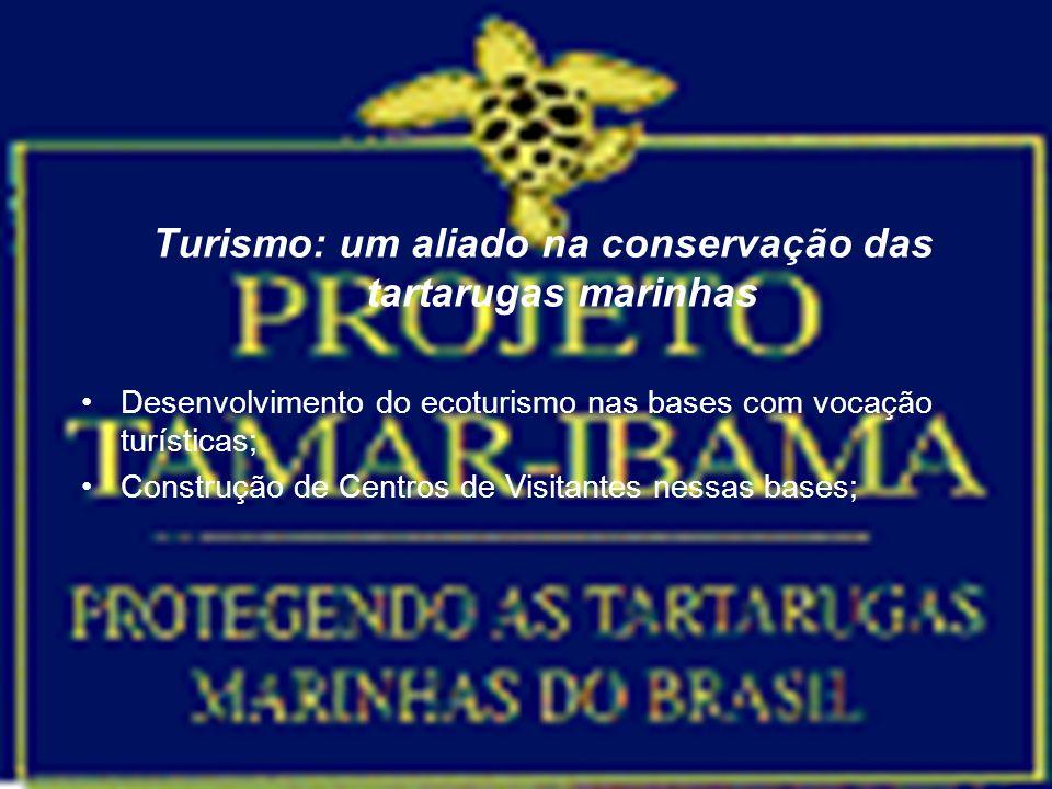 Turismo: um aliado na conservação das tartarugas marinhas Desenvolvimento do ecoturismo nas bases com vocação turísticas; Construção de Centros de Vis