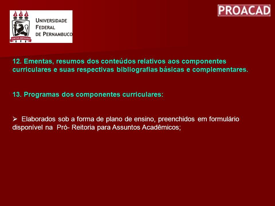 12. Ementas, resumos dos conteúdos relativos aos componentes curriculares e suas respectivas bibliografias básicas e complementares. 13. Programas dos