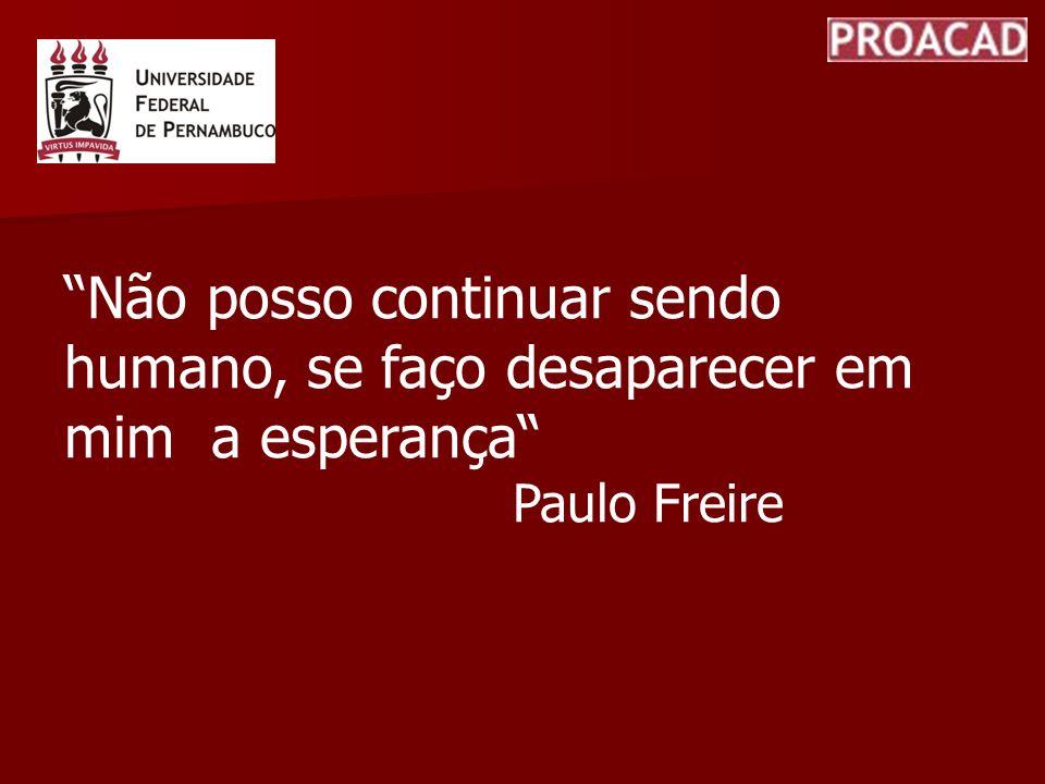 Não posso continuar sendo humano, se faço desaparecer em mim a esperança Paulo Freire
