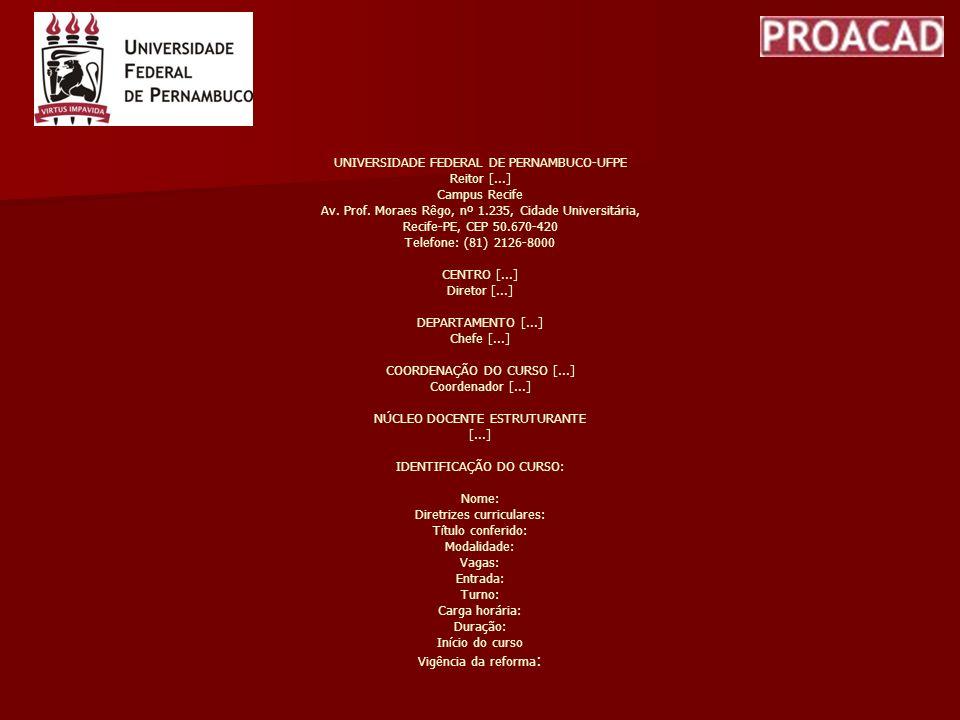 UNIVERSIDADE FEDERAL DE PERNAMBUCO-UFPE Reitor [...] Campus Recife Av. Prof. Moraes Rêgo, nº 1.235, Cidade Universitária, Recife-PE, CEP 50.670-420 Te