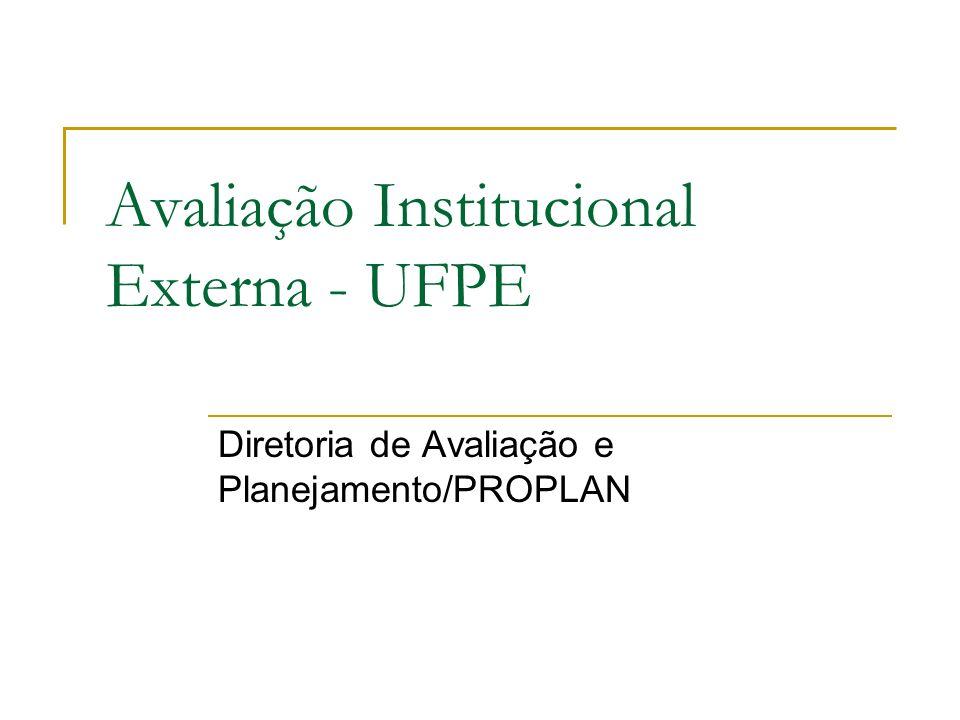Avaliação Institucional Externa - UFPE Diretoria de Avaliação e Planejamento/PROPLAN