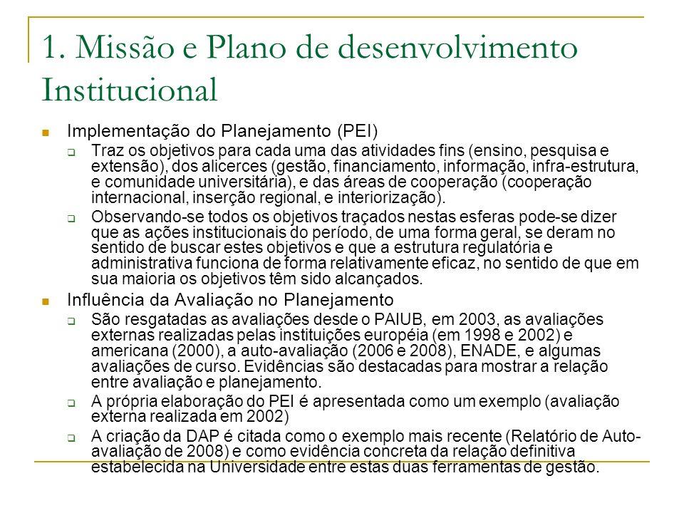 1. Missão e Plano de desenvolvimento Institucional Implementação do Planejamento (PEI) Traz os objetivos para cada uma das atividades fins (ensino, pe