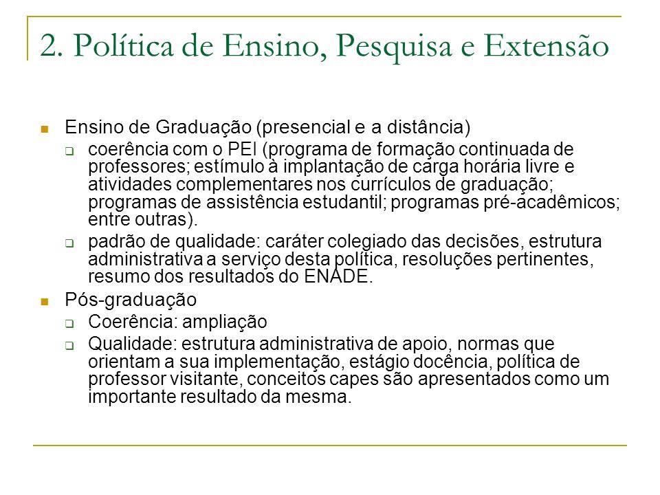 2. Política de Ensino, Pesquisa e Extensão Ensino de Graduação (presencial e a distância) coerência com o PEI (programa de formação continuada de prof