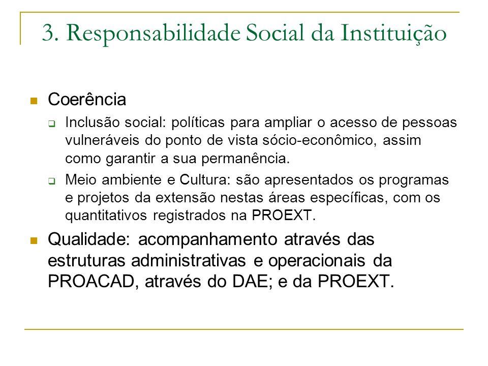 3. Responsabilidade Social da Instituição Coerência Inclusão social: políticas para ampliar o acesso de pessoas vulneráveis do ponto de vista sócio-ec