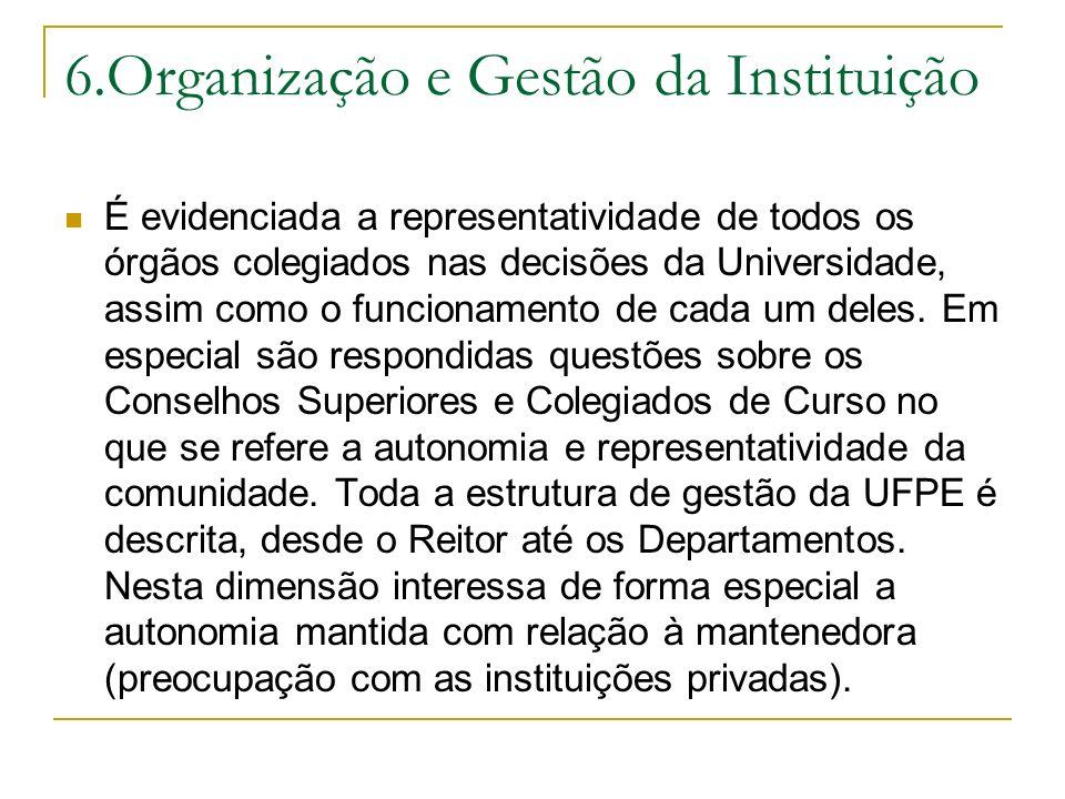 6.Organização e Gestão da Instituição É evidenciada a representatividade de todos os órgãos colegiados nas decisões da Universidade, assim como o func