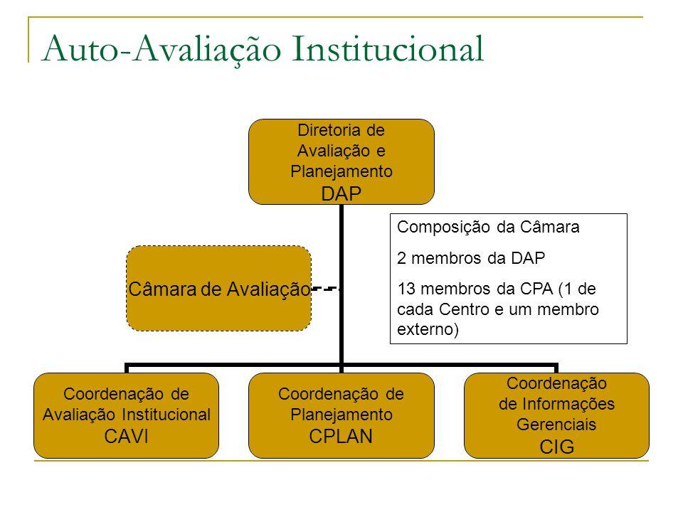 Auto-Avaliação Institucional Diretoria de Avaliação e Planejamento DAP Coordenação de Avaliação Institucional CAVI Coordenação de Planejamento CPLAN C