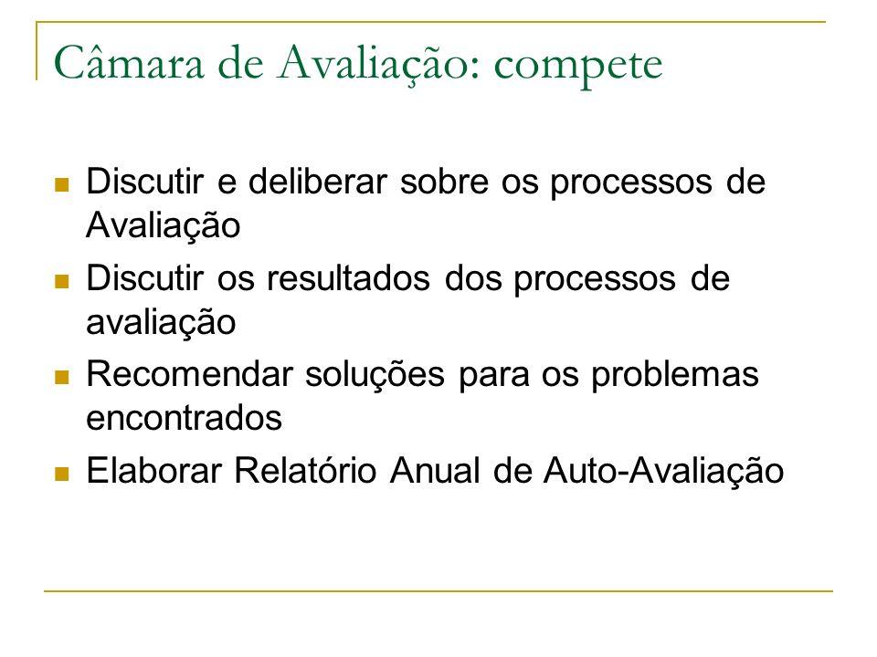 Câmara de Avaliação: compete Discutir e deliberar sobre os processos de Avaliação Discutir os resultados dos processos de avaliação Recomendar soluçõe