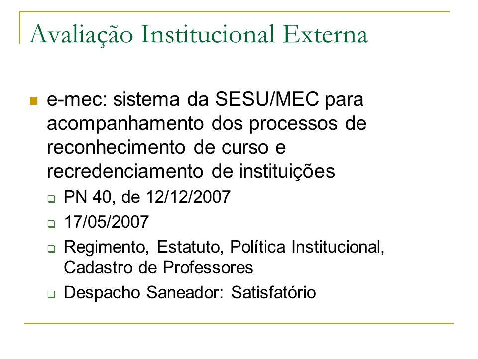 Avaliação Institucional Externa e-mec: sistema da SESU/MEC para acompanhamento dos processos de reconhecimento de curso e recredenciamento de institui