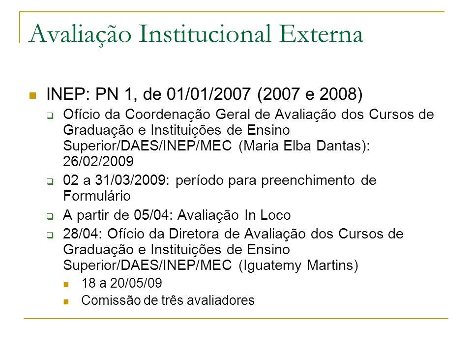 Avaliação Institucional Externa INEP: PN 1, de 01/01/2007 (2007 e 2008) Ofício da Coordenação Geral de Avaliação dos Cursos de Graduação e Instituiçõe