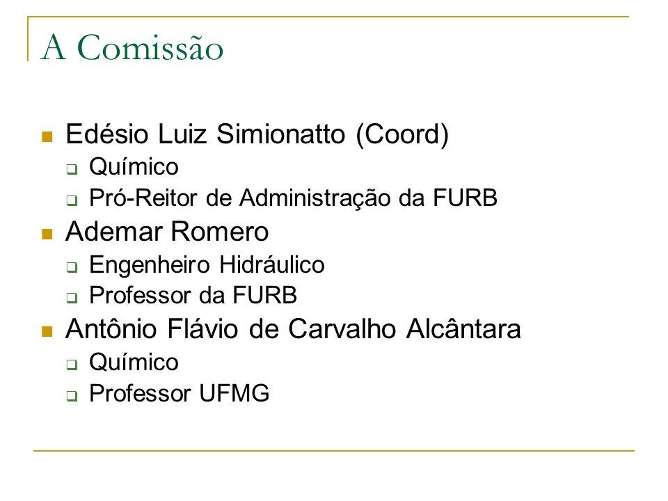 A Comissão Edésio Luiz Simionatto (Coord) Químico Pró-Reitor de Administração da FURB Ademar Romero Engenheiro Hidráulico Professor da FURB Antônio Fl