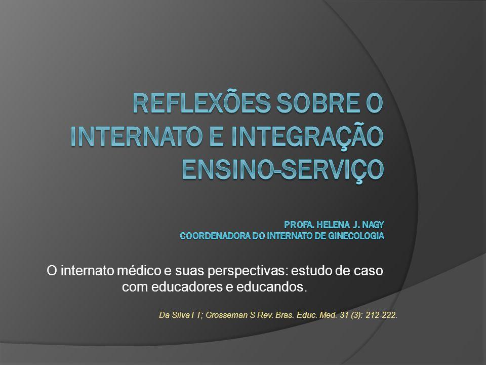 O internato médico e suas perspectivas: estudo de caso com educadores e educandos. Da Silva I T; Grosseman S Rev. Bras. Educ. Med. 31 (3): 212-222.