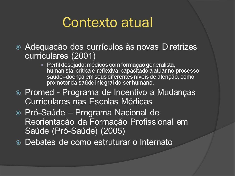 Contexto atual Adequação dos currículos às novas Diretrizes curriculares (2001) Perfil desejado: médicos com formação generalista, humanista, crítica