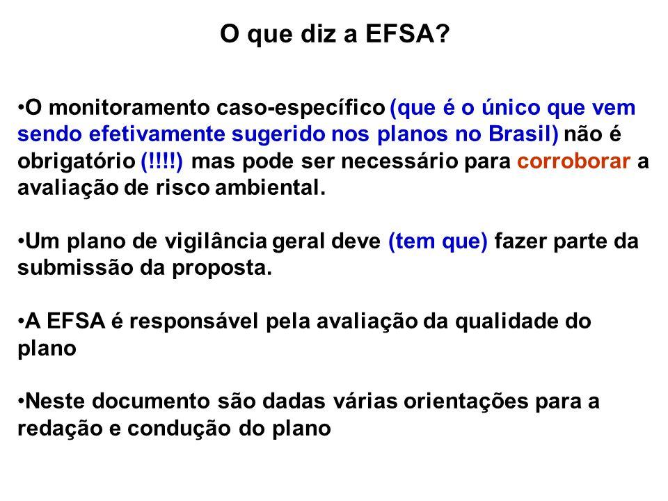 O que diz a EFSA? O monitoramento caso-específico (que é o único que vem sendo efetivamente sugerido nos planos no Brasil) não é obrigatório (!!!!) ma