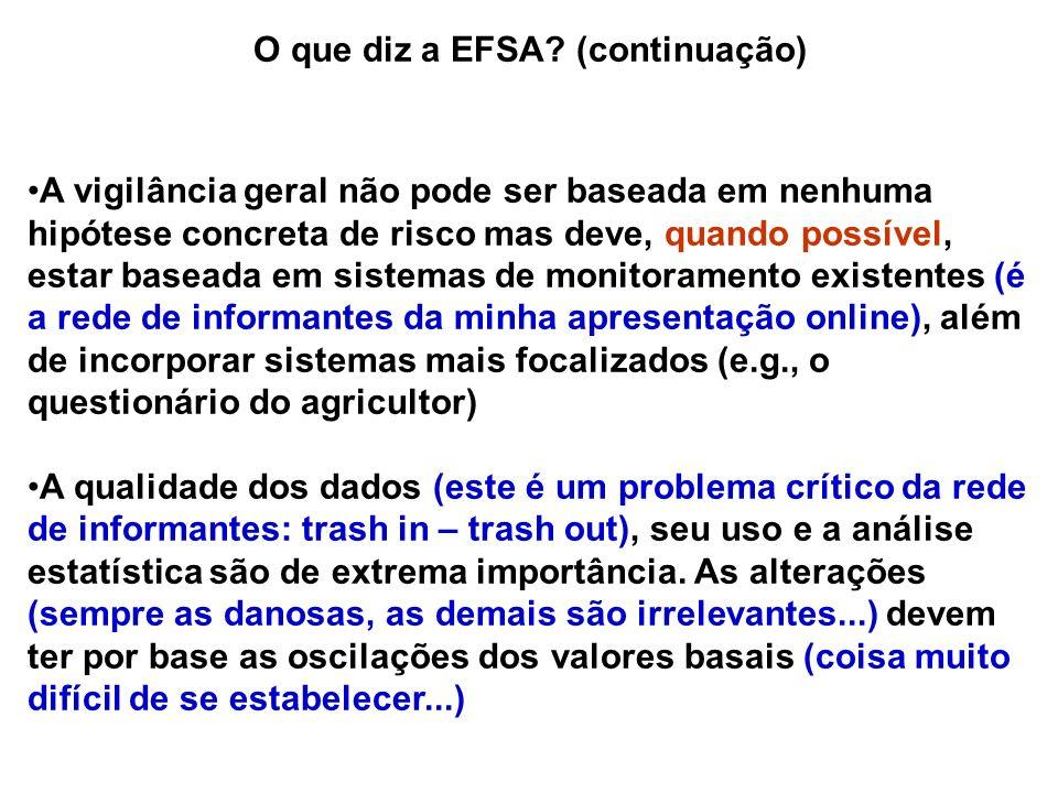 O que diz a EFSA? (continuação) A vigilância geral não pode ser baseada em nenhuma hipótese concreta de risco mas deve, quando possível, estar baseada
