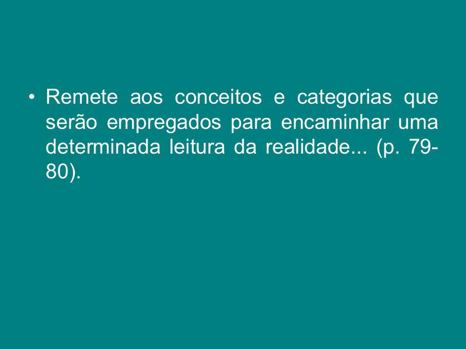 Remete aos conceitos e categorias que serão empregados para encaminhar uma determinada leitura da realidade... (p. 79- 80).