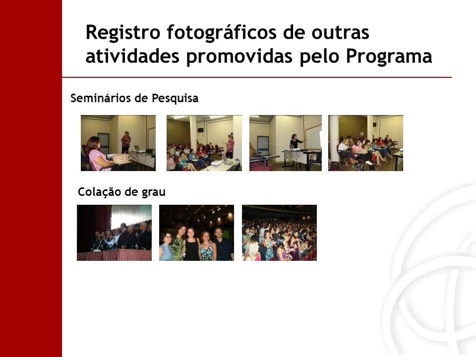 Seminários de Pesquisa Colação de grau Registro fotográficos de outras atividades promovidas pelo Programa