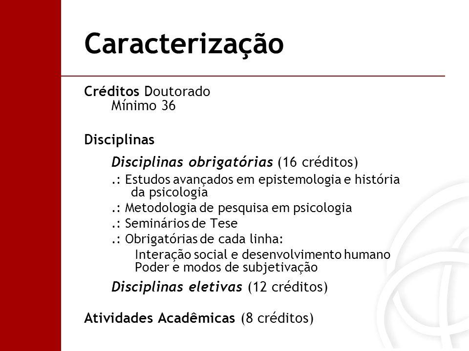 Caracterização Créditos Doutorado Mínimo 36 Disciplinas Disciplinas obrigatórias (16 créditos).: Estudos avançados em epistemologia e história da psic