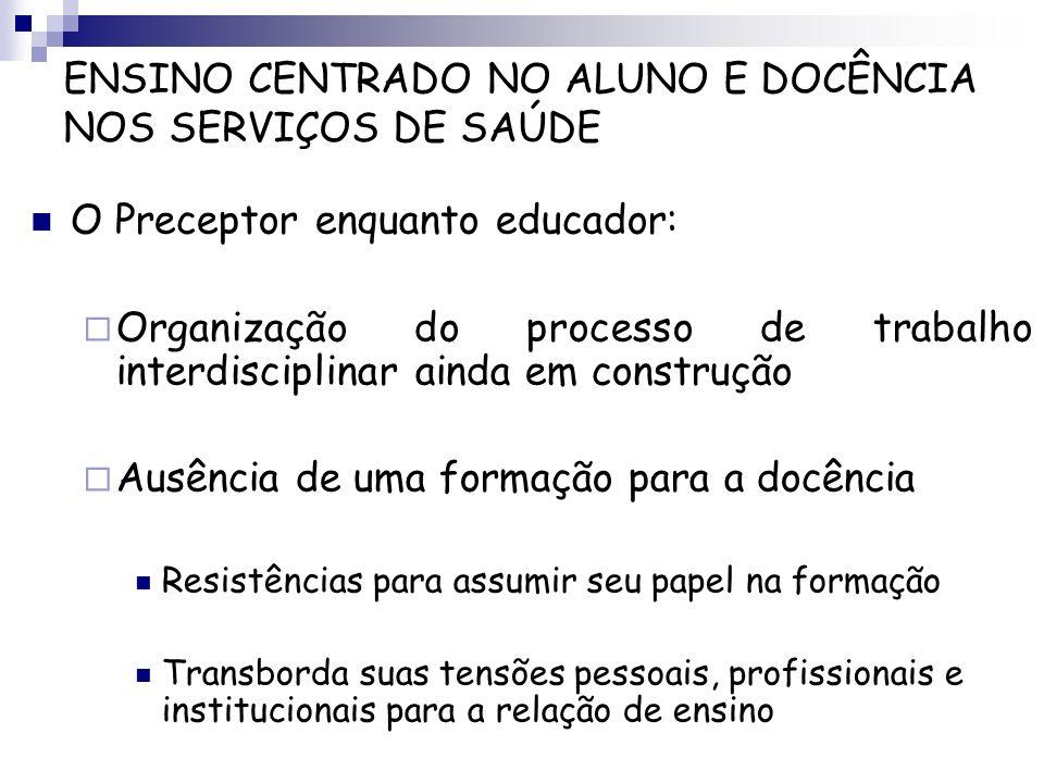 O Preceptor enquanto educador: Organização do processo de trabalho interdisciplinar ainda em construção Ausência de uma formação para a docência Resis