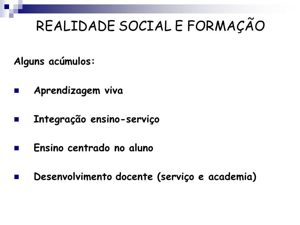 Alguns acúmulos: Aprendizagem viva Integração ensino-serviço Ensino centrado no aluno Desenvolvimento docente (serviço e academia) REALIDADE SOCIAL E