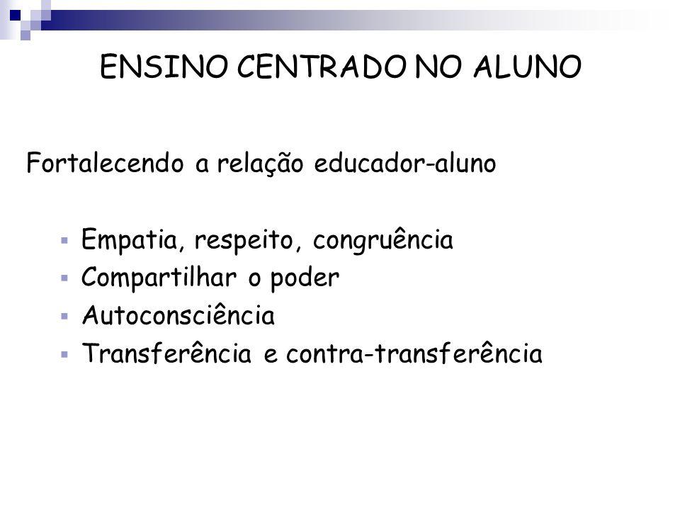 Fortalecendo a relação educador-aluno Empatia, respeito, congruência Compartilhar o poder Autoconsciência Transferência e contra-transferência ENSINO