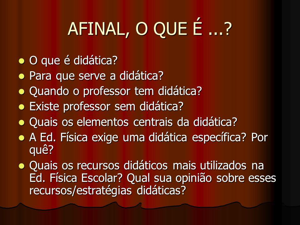 AFINAL, O QUE É...? O que é didática? O que é didática? Para que serve a didática? Para que serve a didática? Quando o professor tem didática? Quando
