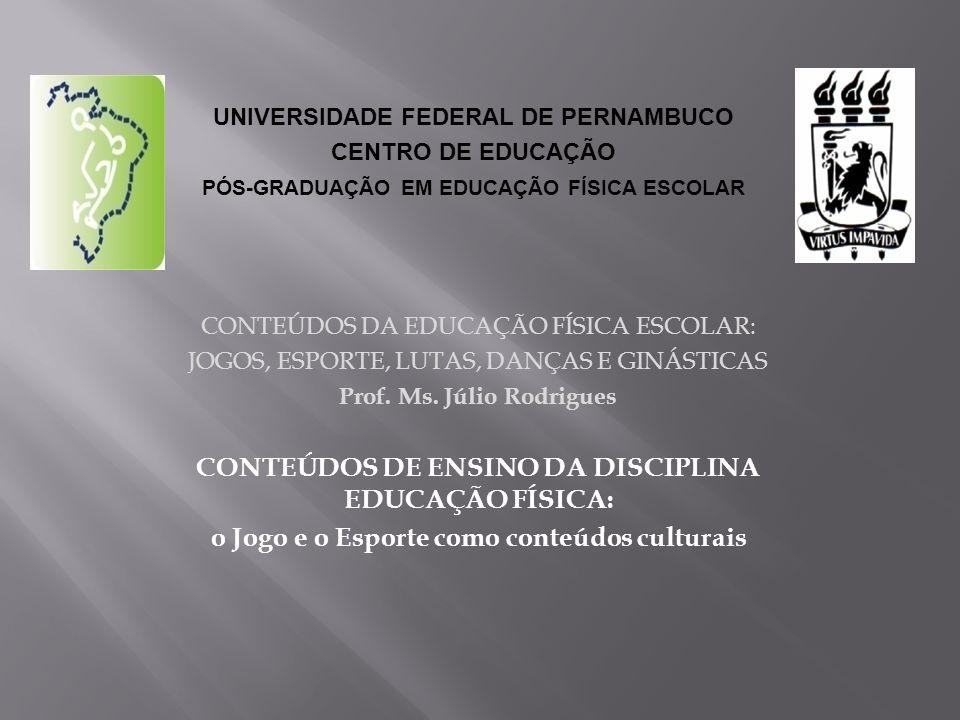 CONTEÚDOS DA EDUCAÇÃO FÍSICA ESCOLAR: JOGOS, ESPORTE, LUTAS, DANÇAS E GINÁSTICAS Prof. Ms. Júlio Rodrigues CONTEÚDOS DE ENSINO DA DISCIPLINA EDUCAÇÃO