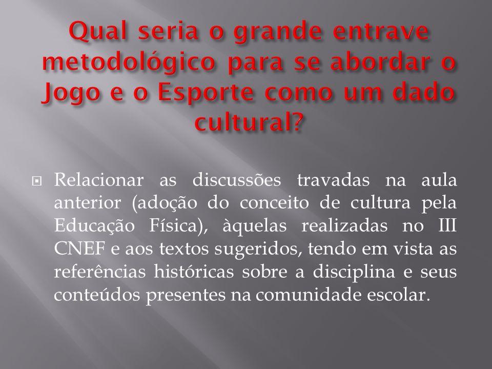 Relacionar as discussões travadas na aula anterior (adoção do conceito de cultura pela Educação Física), àquelas realizadas no III CNEF e aos textos s