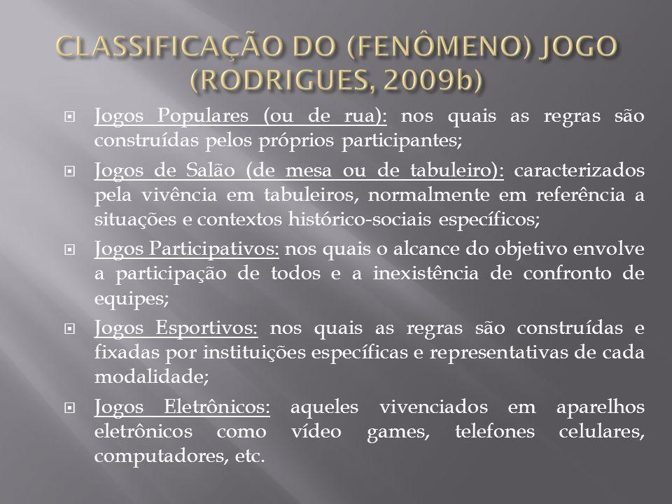 Jogos Populares (ou de rua): nos quais as regras são construídas pelos próprios participantes; Jogos de Salão (de mesa ou de tabuleiro): caracterizado