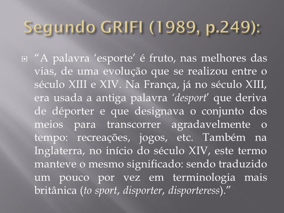 A palavra esporte é fruto, nas melhores das vias, de uma evolução que se realizou entre o século XIII e XIV. Na França, já no século XIII, era usada a