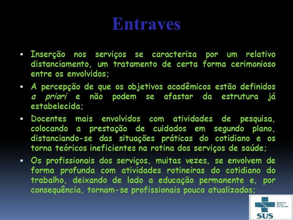 Entraves Inserção nos serviços se caracteriza por um relativo distanciamento, um tratamento de certa forma cerimonioso entre os envolvidos; A percepçã