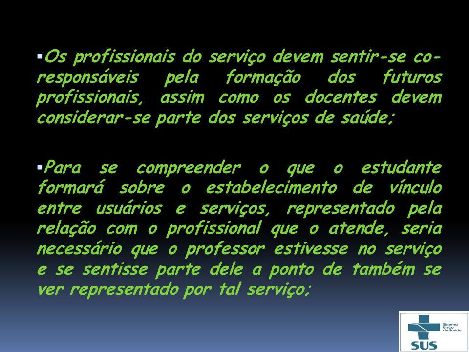 Os profissionais do serviço devem sentir-se co- responsáveis pela formação dos futuros profissionais, assim como os docentes devem considerar-se parte