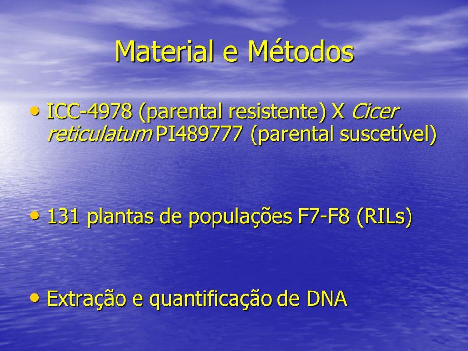 Material e Métodos ICC-4978 (parental resistente) X Cicer reticulatum PI489777 (parental suscetível) ICC-4978 (parental resistente) X Cicer reticulatu
