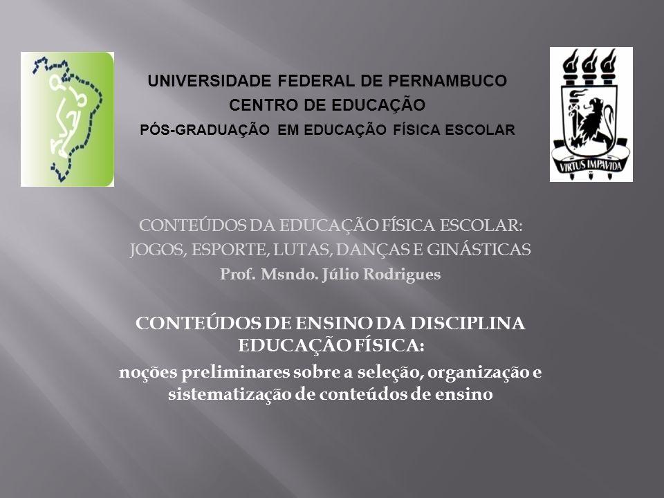 CONTEÚDOS DA EDUCAÇÃO FÍSICA ESCOLAR: JOGOS, ESPORTE, LUTAS, DANÇAS E GINÁSTICAS Prof. Msndo. Júlio Rodrigues CONTEÚDOS DE ENSINO DA DISCIPLINA EDUCAÇ