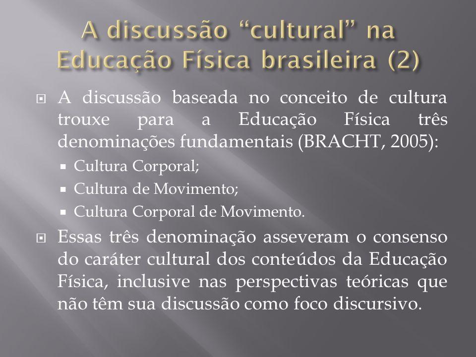 A discussão baseada no conceito de cultura trouxe para a Educação Física três denominações fundamentais (BRACHT, 2005): Cultura Corporal; Cultura de M