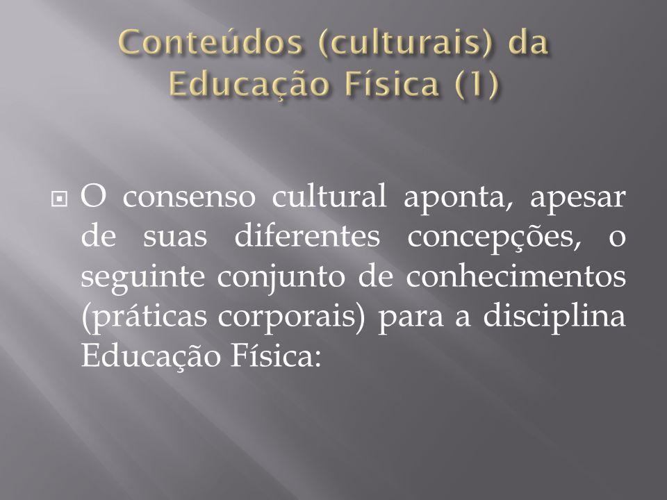 O consenso cultural aponta, apesar de suas diferentes concepções, o seguinte conjunto de conhecimentos (práticas corporais) para a disciplina Educação