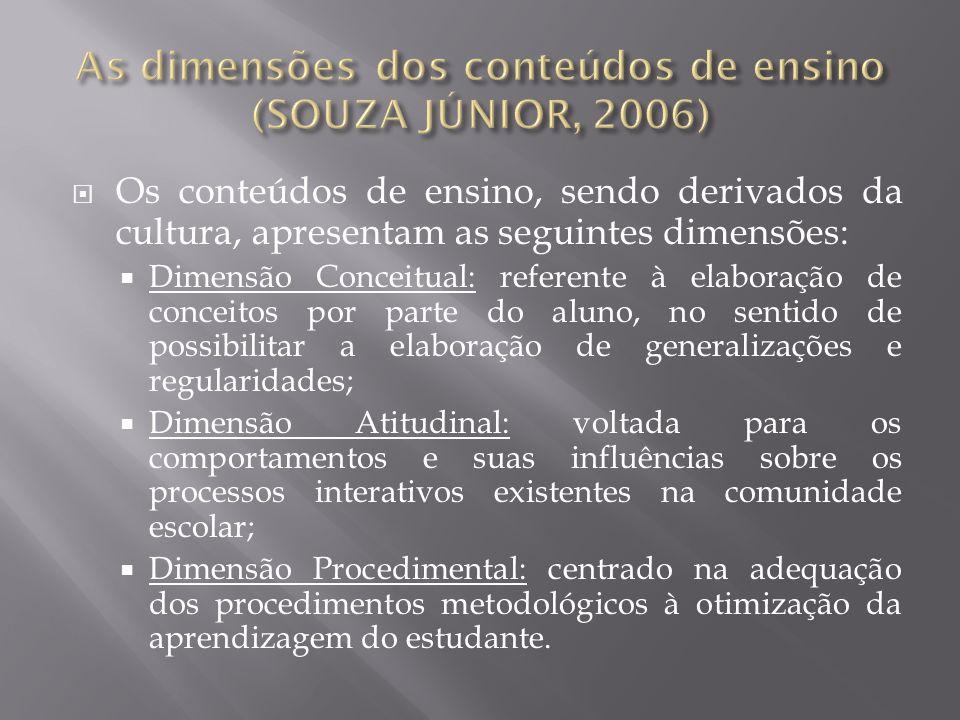 Os conteúdos de ensino, sendo derivados da cultura, apresentam as seguintes dimensões: Dimensão Conceitual: referente à elaboração de conceitos por pa