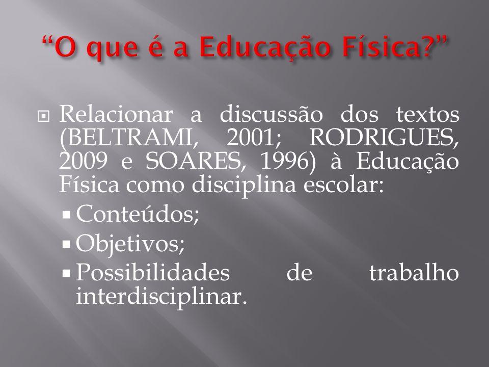 Relacionar a discussão dos textos (BELTRAMI, 2001; RODRIGUES, 2009 e SOARES, 1996) à Educação Física como disciplina escolar: Conteúdos; Objetivos; Po
