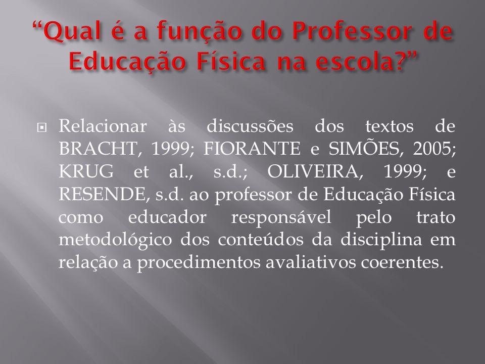 Relacionar às discussões dos textos de BRACHT, 1999; FIORANTE e SIMÕES, 2005; KRUG et al., s.d.; OLIVEIRA, 1999; e RESENDE, s.d. ao professor de Educa