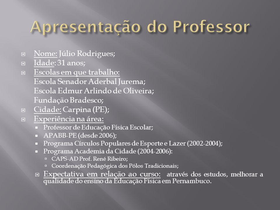 Nome: Júlio Rodrigues; Idade: 31 anos; Escolas em que trabalho: Escola Senador Aderbal Jurema; Escola Edmur Arlindo de Oliveira; Fundação Bradesco; Ci
