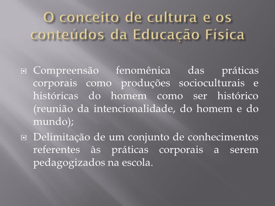 Compreensão fenomênica das práticas corporais como produções socioculturais e históricas do homem como ser histórico (reunião da intencionalidade, do