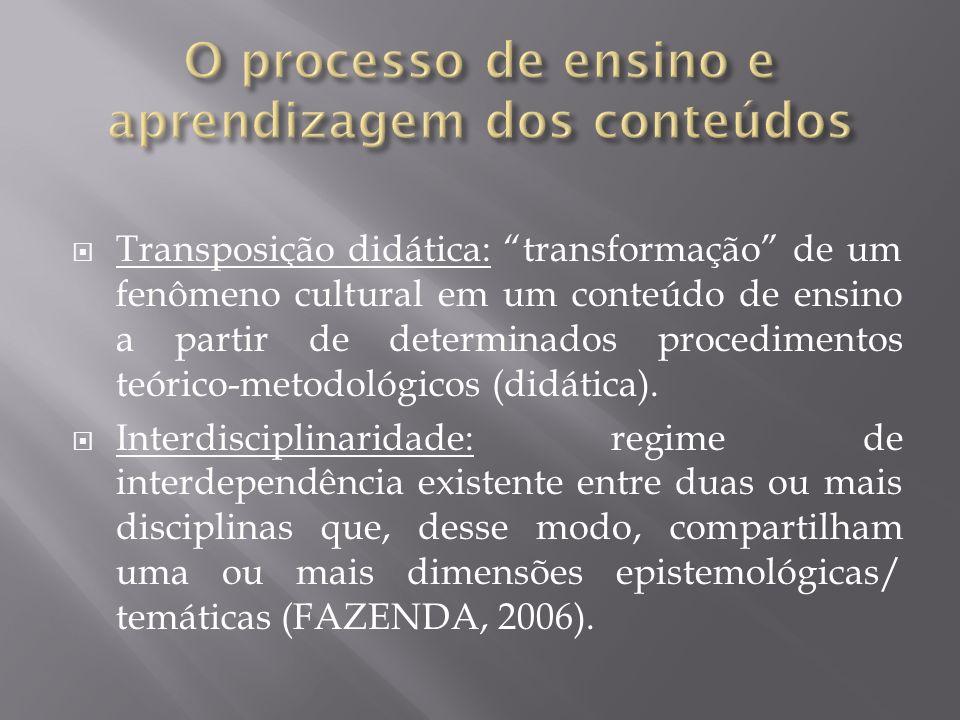 Transposição didática: transformação de um fenômeno cultural em um conteúdo de ensino a partir de determinados procedimentos teórico-metodológicos (di