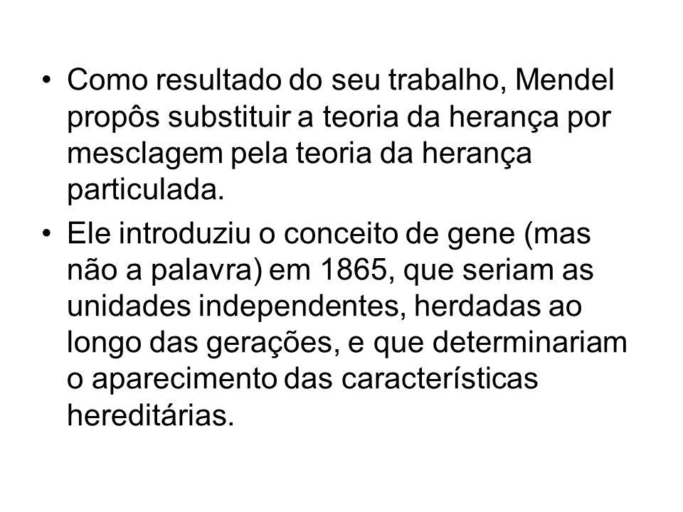 Como resultado do seu trabalho, Mendel propôs substituir a teoria da herança por mesclagem pela teoria da herança particulada. Ele introduziu o concei
