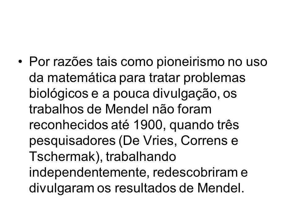 Por razões tais como pioneirismo no uso da matemática para tratar problemas biológicos e a pouca divulgação, os trabalhos de Mendel não foram reconhec