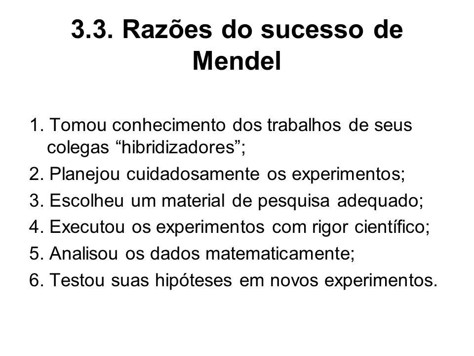 3.3. Razões do sucesso de Mendel 1. Tomou conhecimento dos trabalhos de seus colegas hibridizadores; 2. Planejou cuidadosamente os experimentos; 3. Es