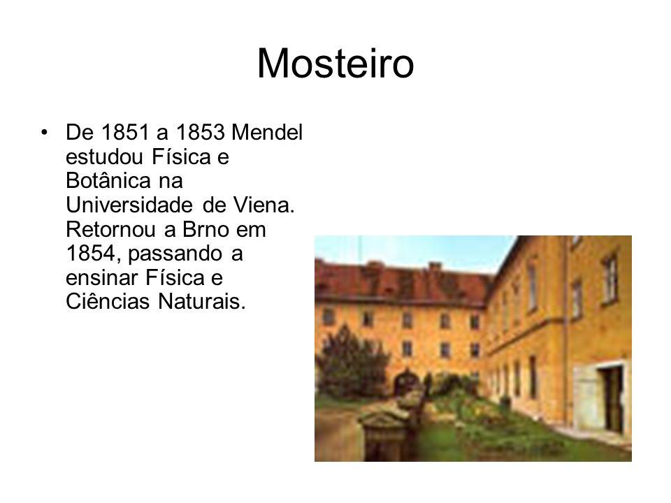 Mosteiro De 1851 a 1853 Mendel estudou Física e Botânica na Universidade de Viena. Retornou a Brno em 1854, passando a ensinar Física e Ciências Natur