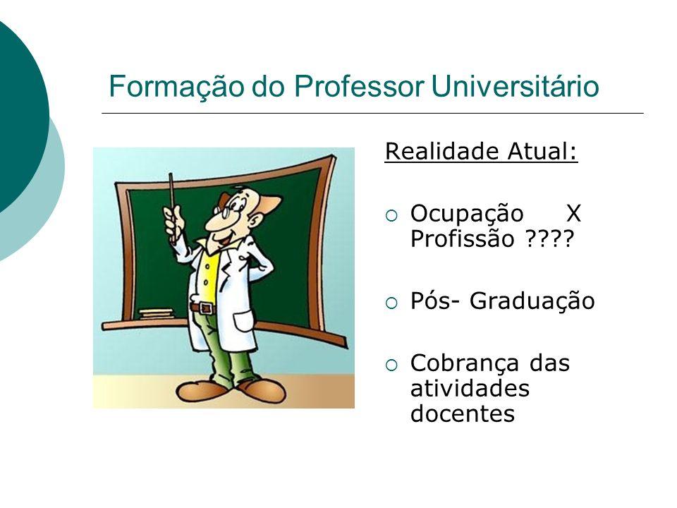 Formação do Professor Universitário Realidade Atual: Ocupação X Profissão ???? Pós- Graduação Cobrança das atividades docentes