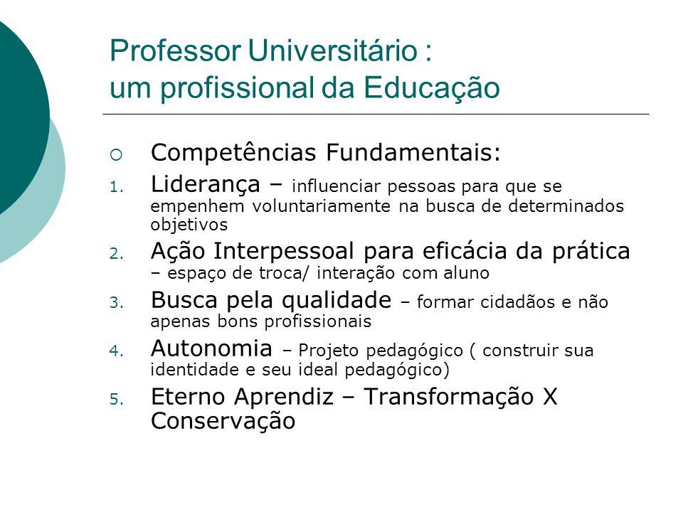 Professor Universitário : um profissional da Educação Competências Fundamentais: 1. Liderança – influenciar pessoas para que se empenhem voluntariamen