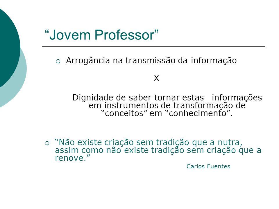 Jovem Professor Arrogância na transmissão da informação X Dignidade de saber tornar estas informações em instrumentos de transformação de conceitos em