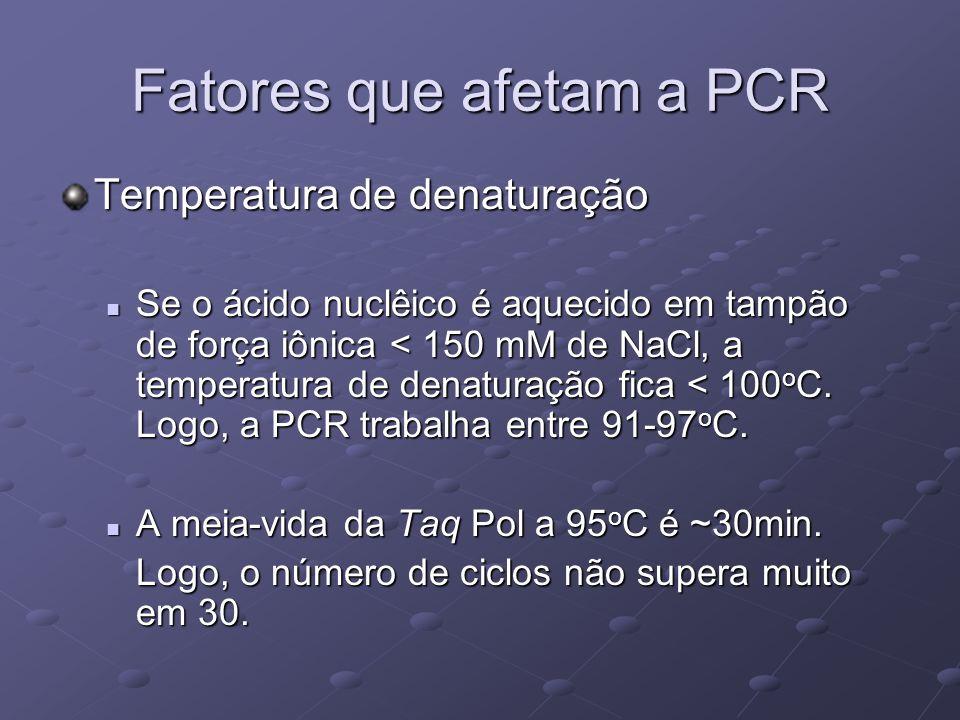 Fatores que afetam a PCR Temperatura de denaturação Se o ácido nuclêico é aquecido em tampão de força iônica < 150 mM de NaCl, a temperatura de denatu