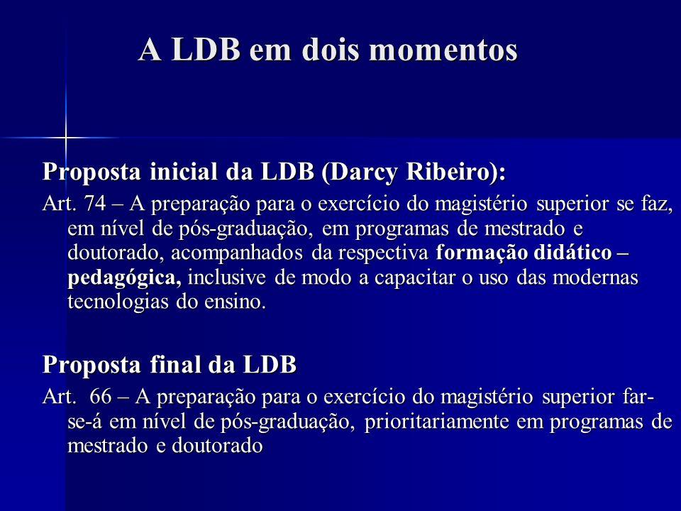A LDB em dois momentos A LDB em dois momentos Proposta inicial da LDB (Darcy Ribeiro): Art. 74 – A preparação para o exercício do magistério superior